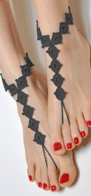 """Embroidered """"sandal"""". Kinda cute instead of being barefoot...if you don't mind weird tanlines lol"""