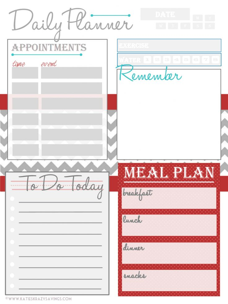 17 Best images about Free Printable Daily Schedule Planners on – Blank Daily Planner Template