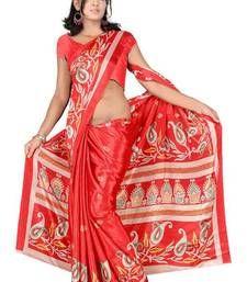 Buy Bhuwal Fashion Floral Prints Turki Silk Red Saree art-silk-saree online
