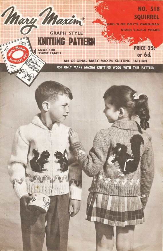 This is a PDF download of an original 1950s knitting Pattern.    Mary Maxim Graph Style Knitting pattern, No 518 Girls or Boys Squirrel zip