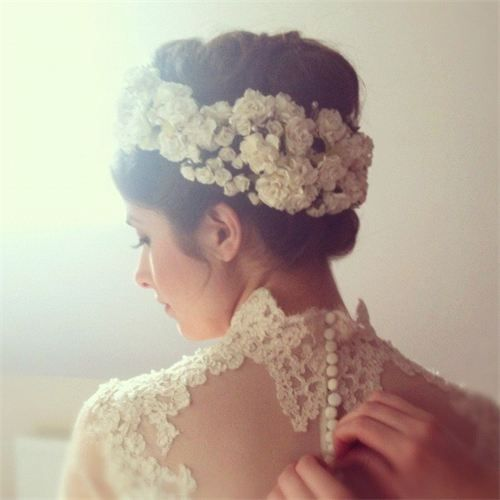 Vintage flower garland: Victorian inspired up-do and accessories. wedding hair. lace.