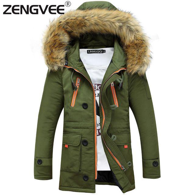 Men's Winter Jackets Coats Windproof Outwear Wadded Zipper Warm Clothing on AliExpress