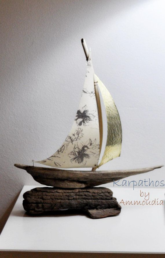 Driftwood sailboat part of a new sailboat duet by AMMOUDIA, $70.00