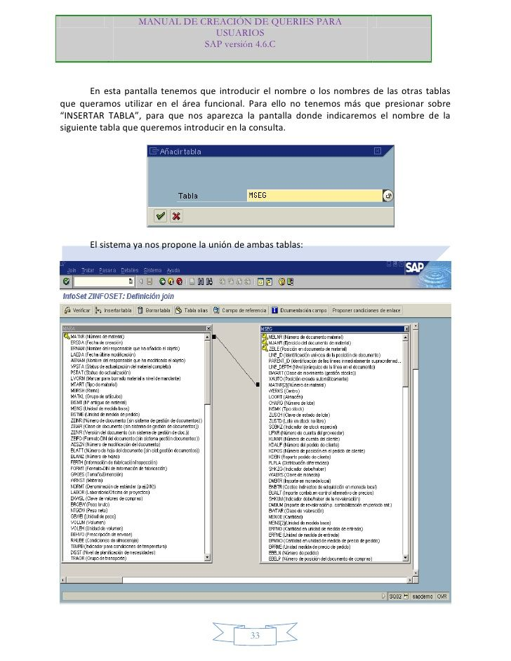 MANUAL DE CREACIÓN DE QUERIES PARA                               USUARIOS                             SAP versión 4.6.C   ...