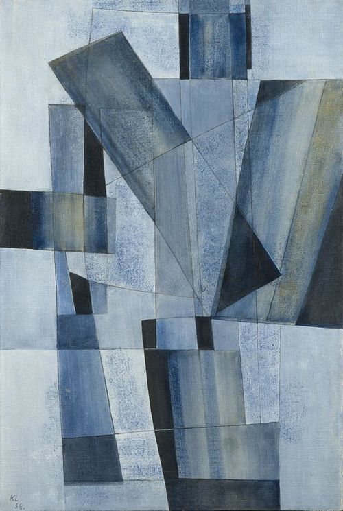 Kurt Lewy (Belgian, 1898-1963), Composition bleue n°158, 1958. Oil on canvas, 60 x 40 cm.