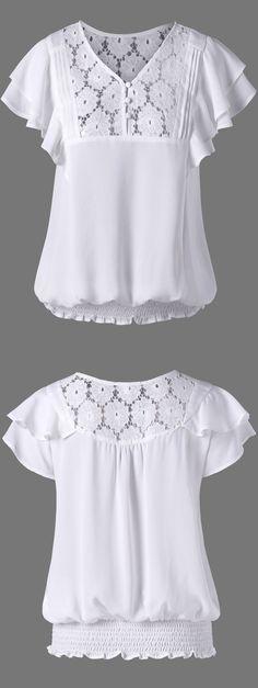 $14.53 Layered Sleeve Shirred Blouse - White