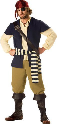 PIRATE ROGUE COSTUME (MEN'S ADULT MEDIUM)  - Click image twice for more info - See a larger selection womens men's pirate costume at http://costumeriver.com/product-category/men/ - mens, holiday costume , event costume , halloween costume, cosplay costume, classic costume, scary costume, pirate, classic costume, clothing