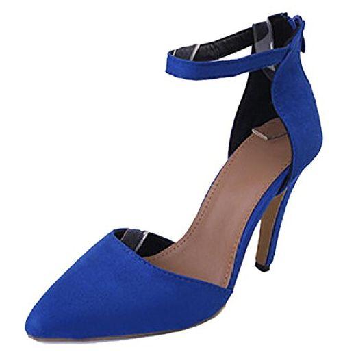 QIYUN.Z Frauenspitzen Stiletto Fersen Spitz Zehen Peeling Knöchelriemen Schuhe Reißverschluss Sandale - Sandalen für frauen (*Partner-Link)