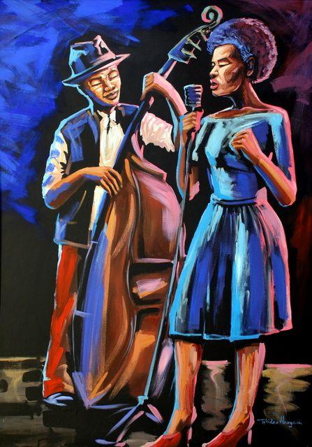 Jazz by Tshidzo Mangena. Acrylic on canvas. https://www.facebook.com/akwaabaafricanart