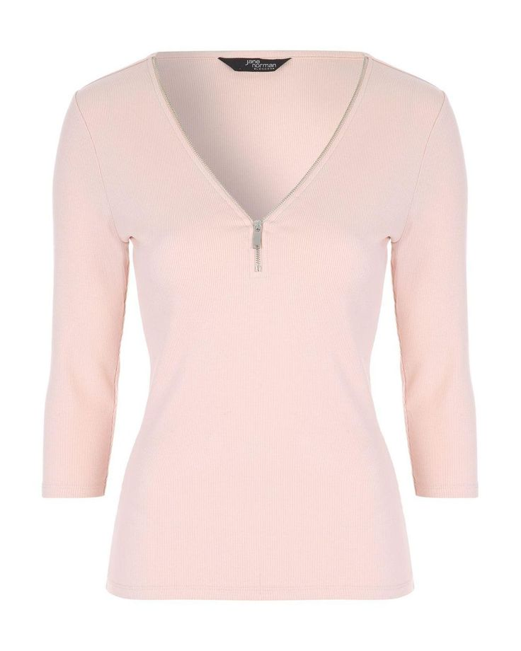 Jane Norman | Pink Zip Up Ribbed Top | Lyst