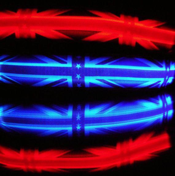 British flag LED dog collar w/ glow lights UK England by bellaTAZ
