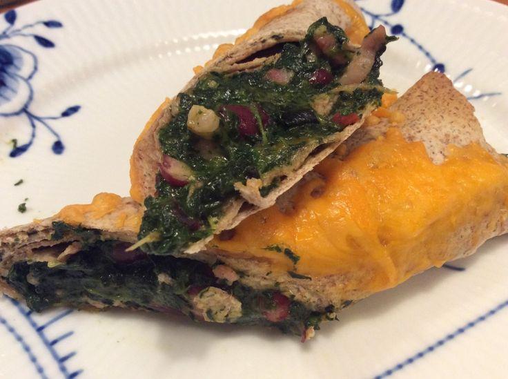 Tortillas med spinat og bacon