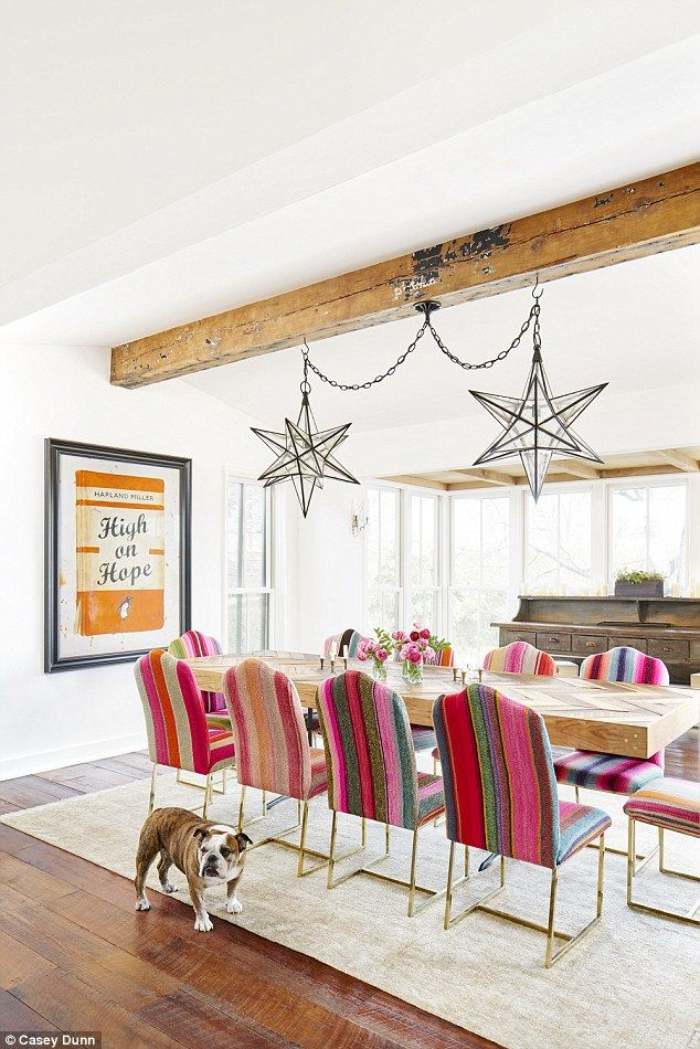 'It's a margarita pink. Everyone loves a margarita pink!' Decker's firefighter brother Jordan crafted their dining room table, and she reupholstered all the chairs in vintage Mexican serape blankets