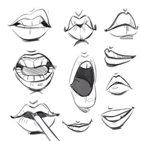 "Reposting some mouths from my July ""body parts"" challenge."