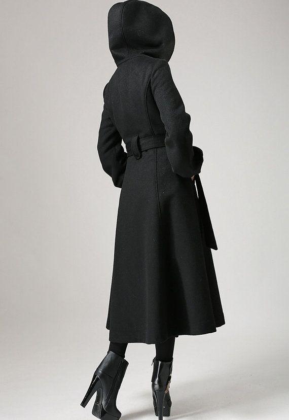 Black wool coat with tie belt waist long winter coat by xiaolizi
