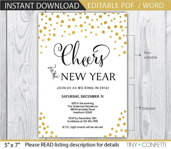 new years eve invite - new years eve invitation - new years invitation - new years eve printable - new years eve party - gold INSTANT  by TinyConfetti
