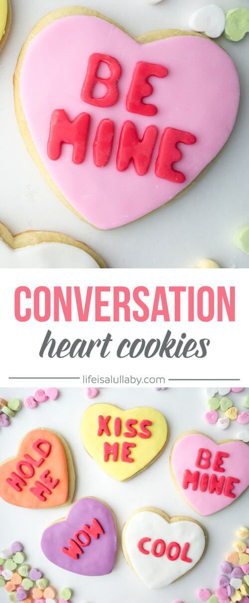 These Conversation Heart Cookies are so cute and easy to make! These are a perfect treat for Valentine's Day!