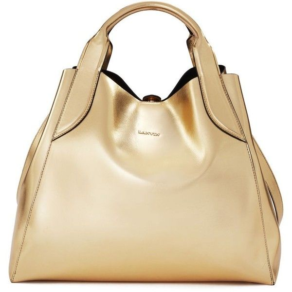 d1fc77237 Lanvin Tote ($1,800) ❤ liked on Polyvore featuring bags, handbags, tote bags,  gold, studded tote, drawstring purse, beige purse, tote bag purse and tote  ...