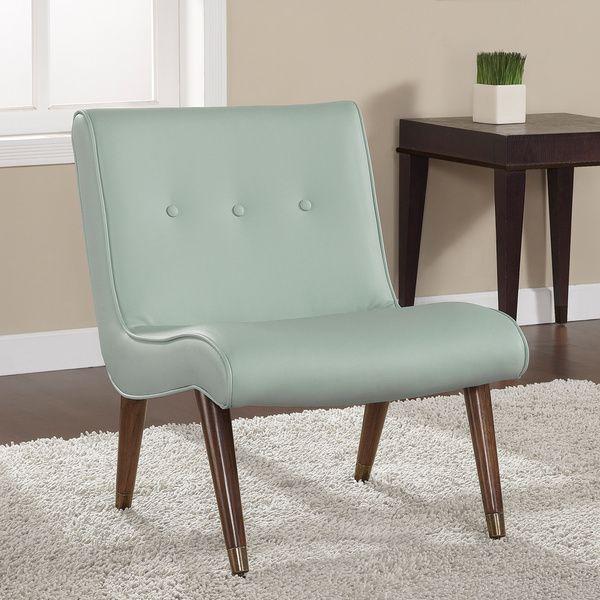 Mid-century Aqua Bonded Armless Chair -