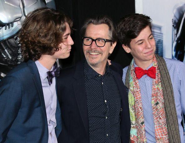 Actor Gary Oldman (C) and sons Gulliver Flynn Oldman (L) and Charlie John Oldman (R)