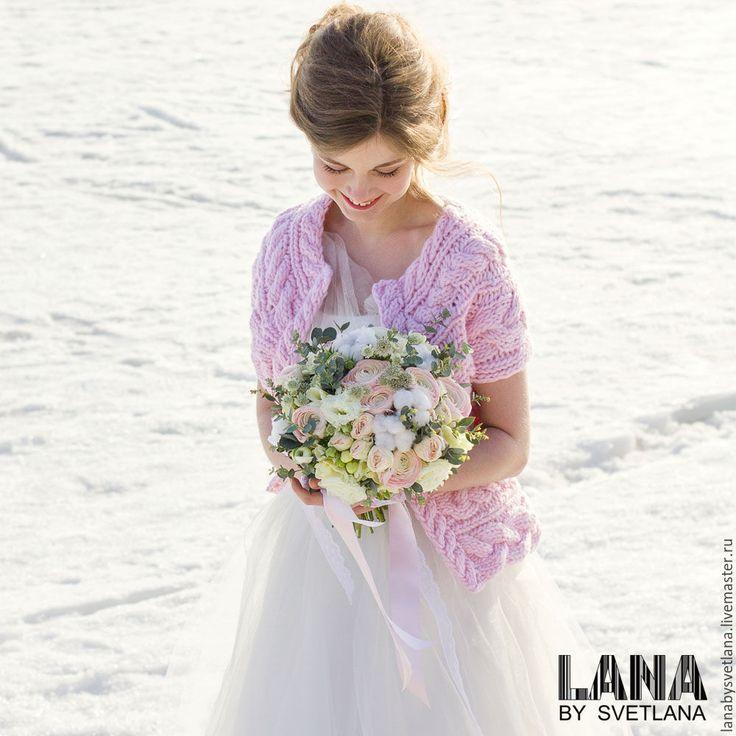 Купить Жакет вязаный из объемной шерсти - бледно-розовый, розовый, розовый кварц, жакет