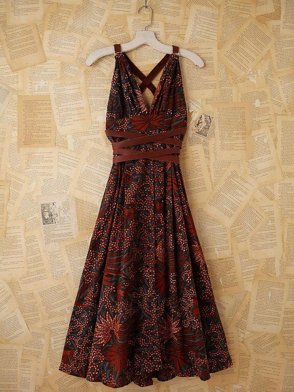 Batik dress. Love the twist around the waist...