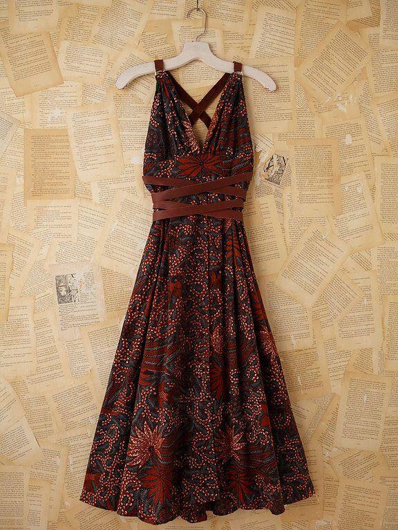 Batik dress. Love the twist around the waist...