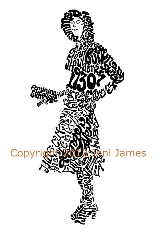 1930 39 S Fashion Illustration Word Art Or Calligram 1930 39 S Art Vintage Style Fashion Typography
