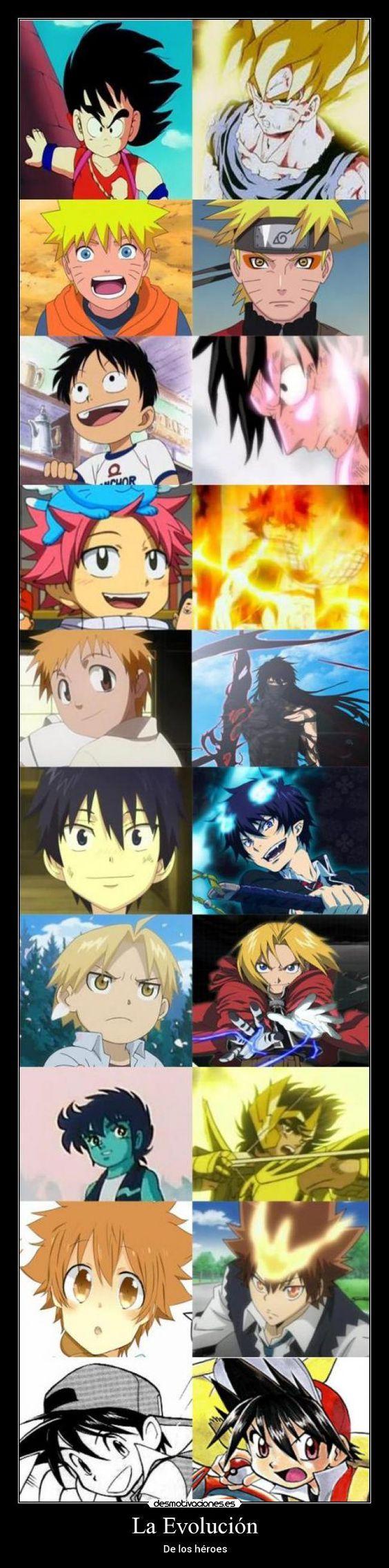 carteles goku naruto luffy natsu ichigo rin edward seiya tsuna red heroes evolucion anime desmotivaciones: