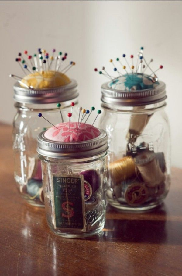 Love this idea for a pin cushion using a Mason Jar! Top 15 Most Creative DIY Mason Jar Craft Ideas: http://www.womenio.com/2051/top-15-most-creative-diy-mason-jar-craft-ideas