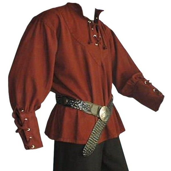 Medieval Pirate LARP Mens Shirt, Dark Red ($56) ❤ liked on Polyvore featuring men's fashion, men's clothing, men's shirts, men's casual shirts and mens pirate shirt