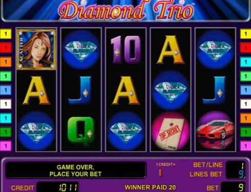 Игровые автоматы Вулкан на реальные деньги - Diamond Trio.  Главными героинями игрового автомата на реальные деньги Diamond Trio являются три девушки-спецагента. В казино Вулкан Вам предстоит помочь им найти бриллиант, а заодно и заработать солидную сумму.