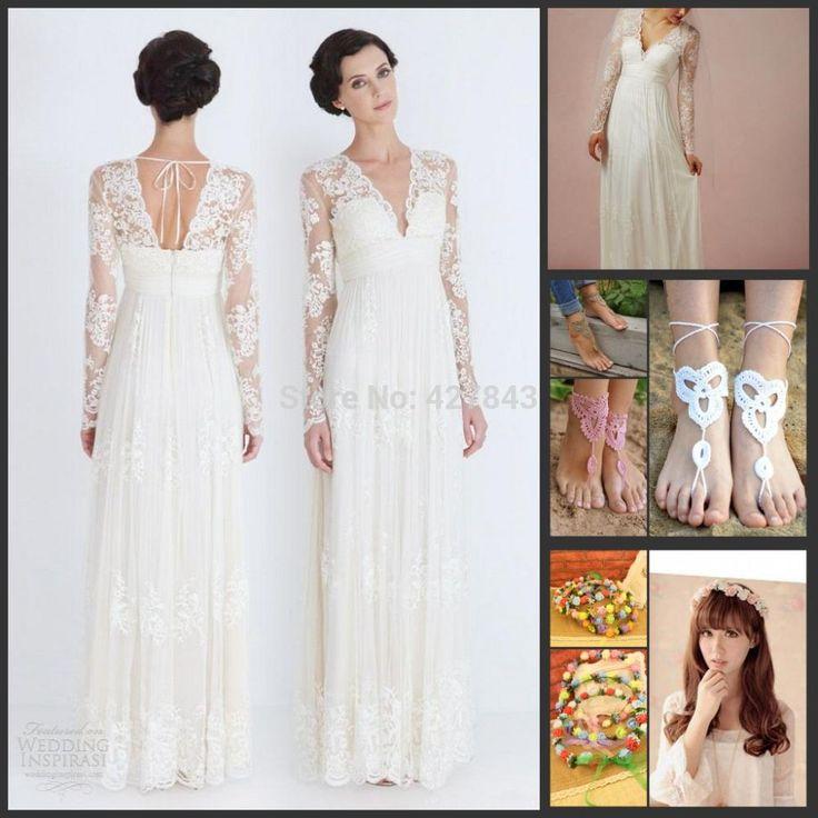 Simple A Line Lace Long Sleeves Bohemian Wedding Dress Backless Chiffon Boho Wedding Dress Summer Vestido De Noiva Praia Wedding Stores Weeding Dresses From Queenfashion, $149.5| Dhgate.Com