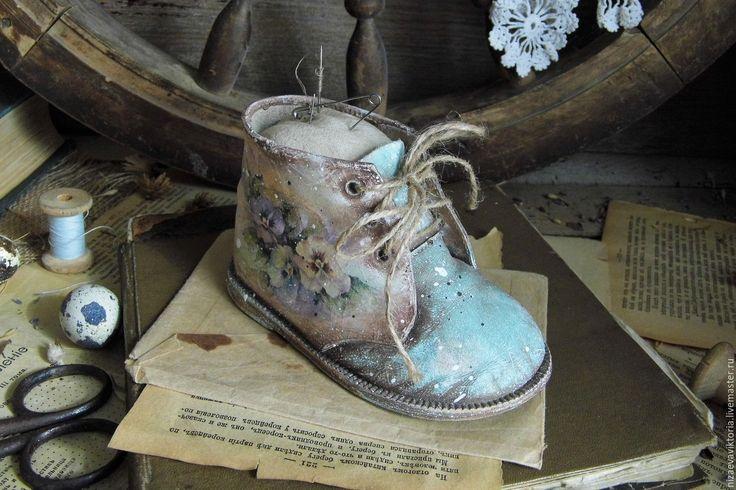 """Купить Интерьерный ботиночек """"Бохо-Фиалка"""" - бирюзовый, цветы, бирюза, мятный цвет, винтаж, фиалка"""