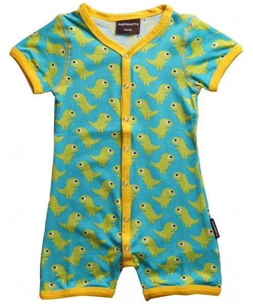 Maxomorra Organic s/s rompersuit - Dino Retro Baby Clothes ...