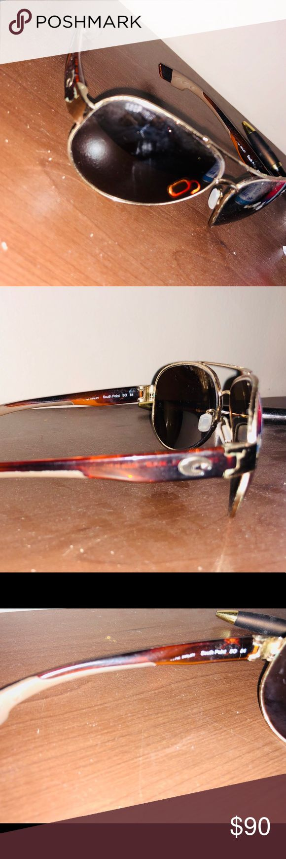 Costa Del Mar's Costa Del Mar sunglasses for women ! South point , 580P.  May have a scratch on the lens but they are recently new lens. You can reorder lens for $15 from costa. Originally $200 serious inquires only ! Other