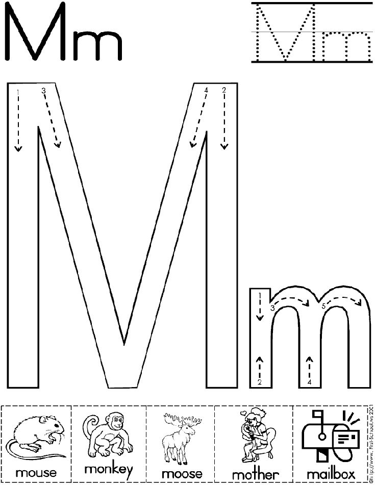Alphabet Letter M Worksheet  | Standard Block Font | Preschool Printable Activity  worksheet for tomorrow