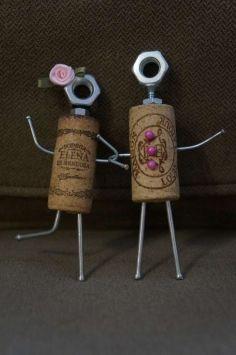Wine cork couple- so cute!!Mini Wedding Couple $24