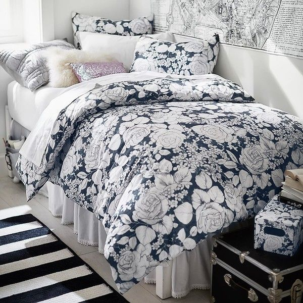 PB Teen Winter Rose Duvet Cover, Twin, Charcoal ($79) ❤ liked on Polyvore featuring home, bed & bath, bedding, duvet covers, winter bedding, rose pattern bedding, twin xl bedding, rose bedding and x long twin bedding