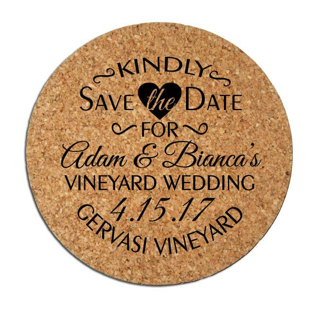 50 Save The Dates Personalized Round Cork Coasters Custom 2016 2017 Wedding  Announcements Winery Brewery Rustic