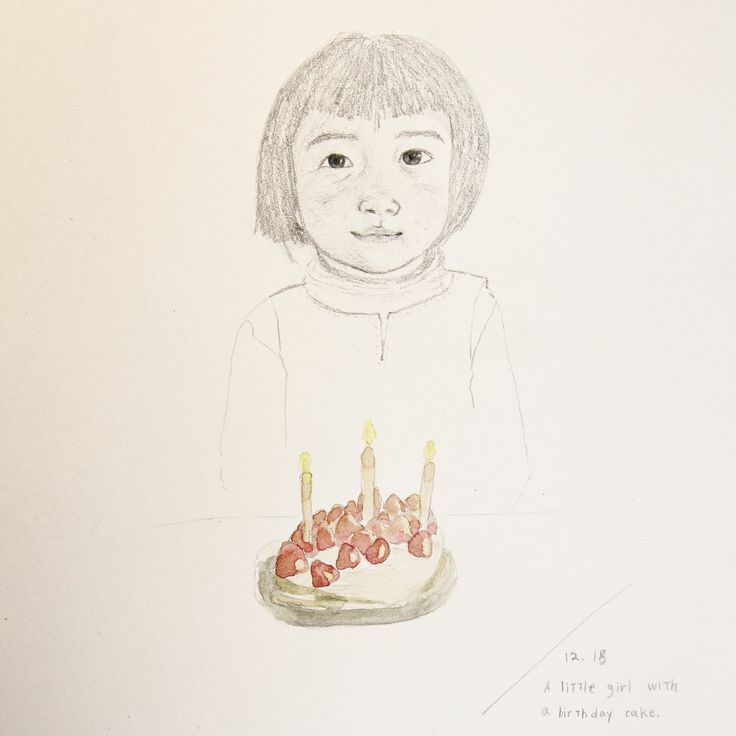 A little girl with a cake