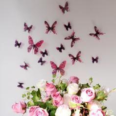 Papillons 3D roses - 18 stickers papillons 3D authentiques