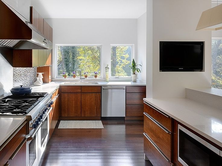 Modern Home Architecture In Green Environment Ideas Beautiful Kitchen Design With Brown And White Interior Color Decoration Darkwood