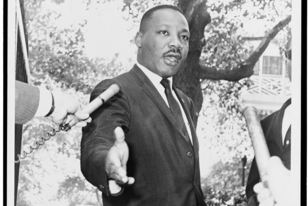 Martin Lutherking Jr. during a press conference, July, 30st, 1964.