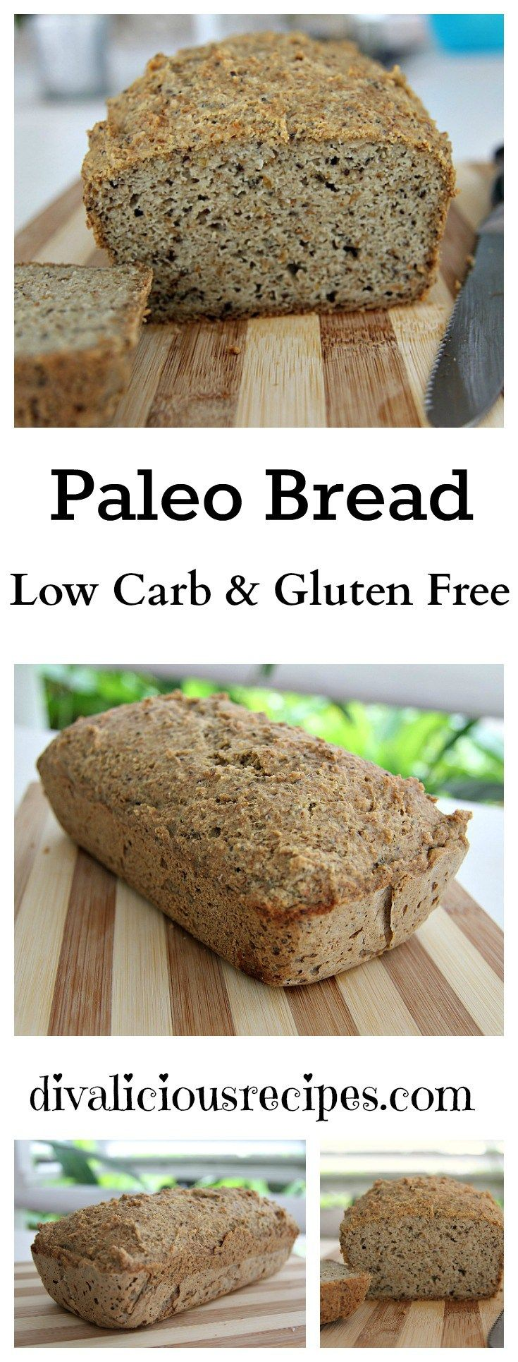 Paleo Bread   [1 ½ cups (144g) almond flour, 1/4 cup (28g) coconut flour, 1/4 cup (42g) ground flaxseed flour,  2 tbl psyllium husk powder,  1 ½ tbl baking powder,  2 tbl (20g) chia seeds, 1/4 tsp salt   Mix all.  Add      5 eggs, then  1/4 cup olive oil (or coconut oil), then  2 tbl apple cider vinegar, then 1/2 cup boiling water 350,45m]