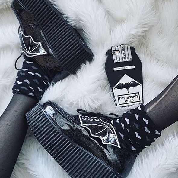 Batwing Creepers by Demonia & Already Dead iPhone 6 Case by Killstar. Photo…