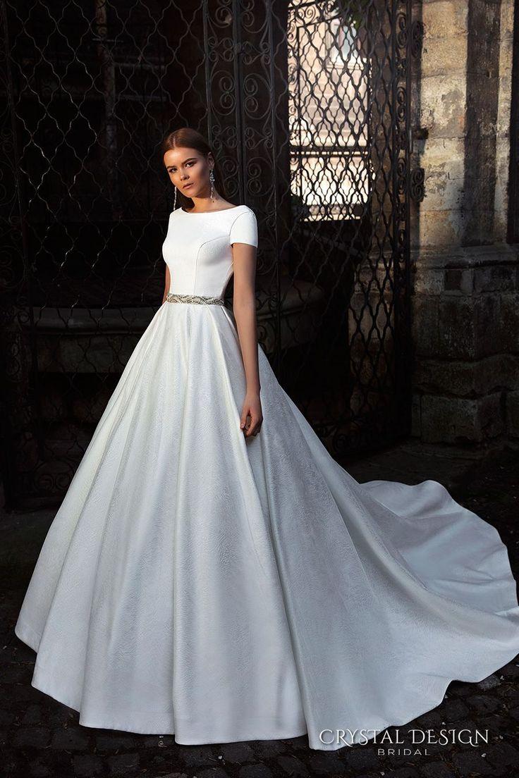 Crystal Design Bridal 2016 Short Sleeves Bateau Neckline Elegant Chic Simple A Line Ball Gown Wedding