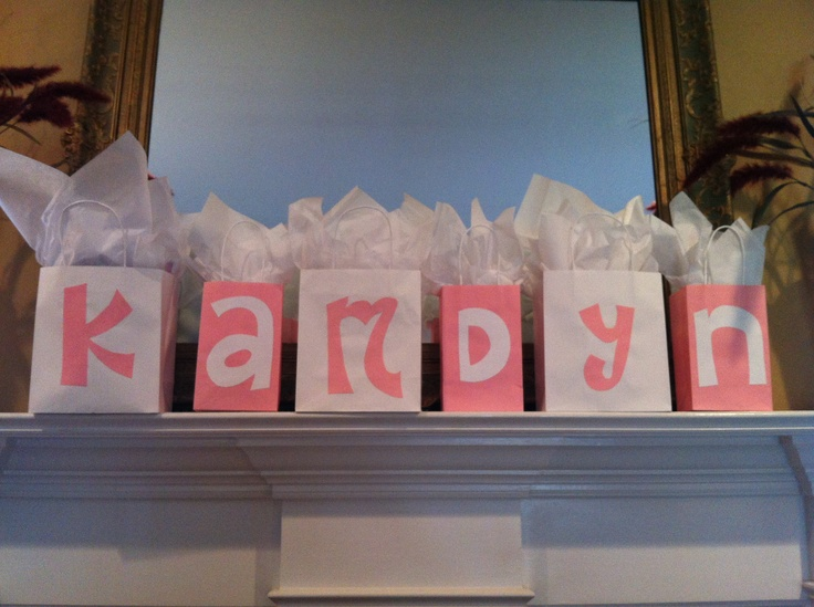 47 best baby shower images on pinterest birthdays boy shower and baby shower giftprize bags double as decoration by spelling out the expected babys negle Image collections