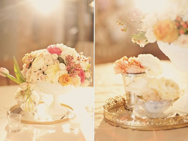 Soft pastel florals + antique mirrored trays = utterly gorgeous! From the