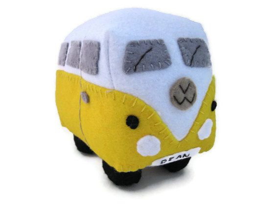 CIJ - 10% Off Felt Car Toy, VW Campervan Plush Collectible, Personalized Yellow VW Bus, Made to Order